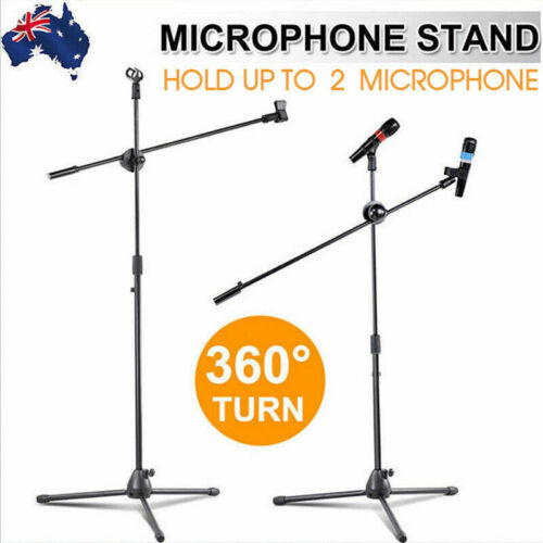 Foldable Microphone Stand Adjustable Mic Holder Tripod Two Clip Boom Fast Post