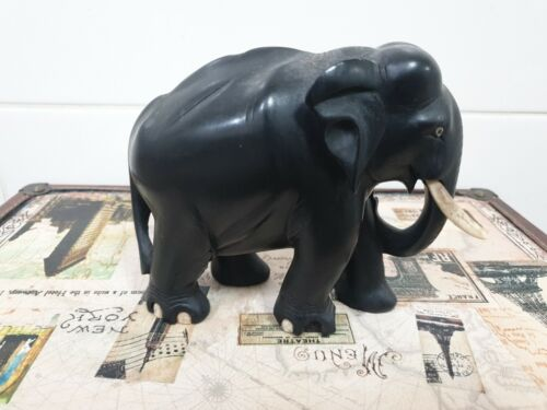 handcarved Elephant 17cm from tail to tusk 12cm height missing tusk & nail