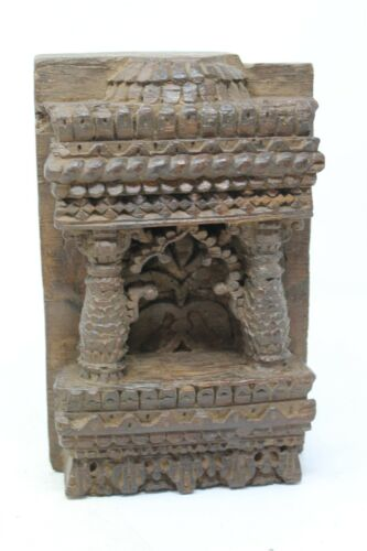 Antique Old Hand Carved Wooden Islamic Floral Design Window Wall Block NH6354