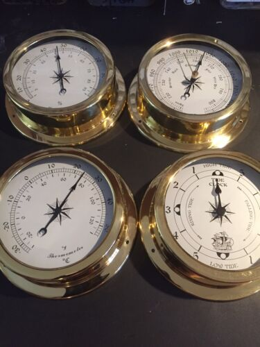 Weather Station 4 pcs/ 145mm Brass Barometer /Thermometer/ Hygrometer /TideClock