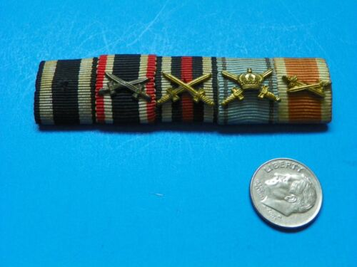 WWI ORIGINAL GERMAN  RIBBON BAR WITH 5 MEDAL RIBBONS 4 WITH SWORDS FOR COMBATMedals, Pins & Ribbons - 156396