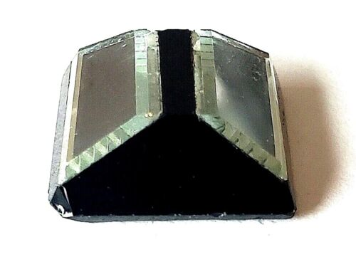 """Antique Button…Black Glass with Beveled Mirrors…Square…7/8"""""""