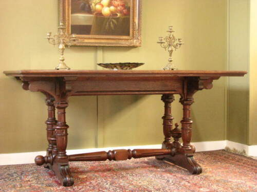 ANTIQUE FRENCH OAK DINING / KITCHEN / BREAKFAST TABLE ~ ORIGINAL PATINA. c1890s