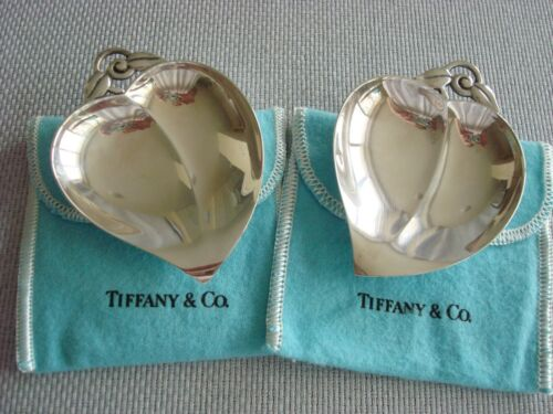 TIFFANY sterling silver ~ 2 NUT MINT TRINKET CANDY DISH TRAYS 'HEART' w/pouches