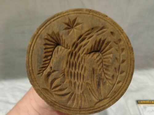 Very Rare Antique Wood Spread Winged Eagle Design Butter Mold Print Stamp Press