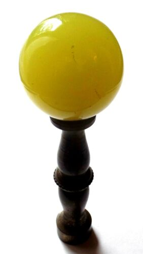 Antique Yellow (Glass?) and Brass Finial