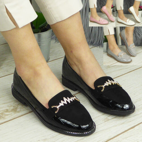 Womens Loafers Ladies Bling Pumps Boat Slip On Flats Work School Comfy Shoes New