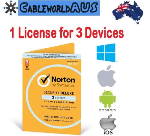 Symantec Norton Security Deluxe 3 Devices 1 year Windows Mac Android ID KEY
