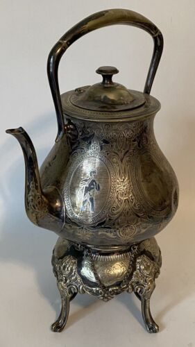 Antique Atkins Brothes Silver Plated Tilting Teapot with Warmer Victorian Ornate