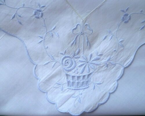 VINTAGE BLUE EMBROIDERED FLOWERS IN BASKET WHITE SUPPER CLOTH  86 cms x 88 cms