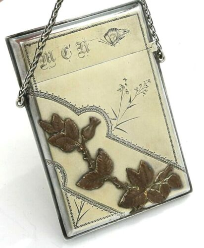 Gorham Aesthetic MIXED METALS Sterling CARD CASE Japanesque