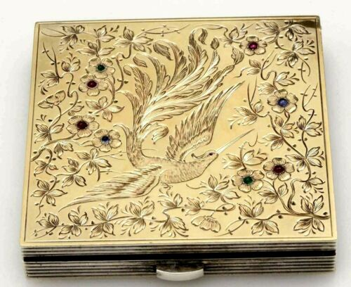 Vintage Art Deco FRENCH GOLD and STERLING JEWELED COMPACT  Bird