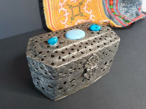 Old Tibetan Silver Box with Local Stones …beautiful collection and display item