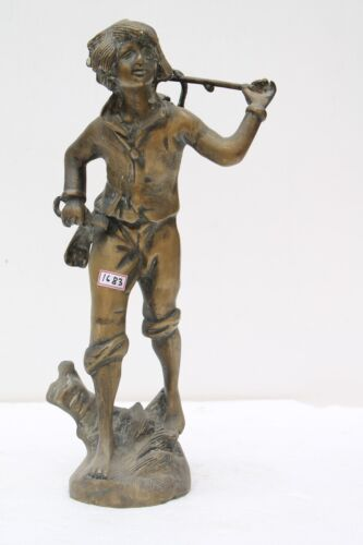 Antique Old Hand Crafted Brass English Boy Carrying Basket Figure Statue NH1683