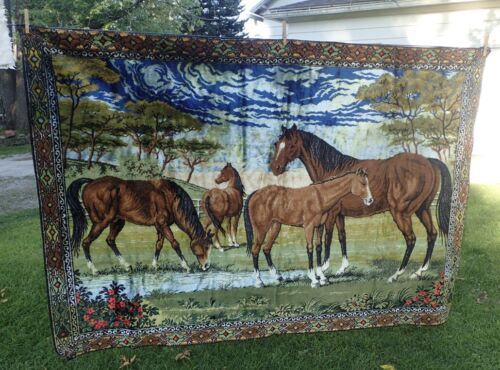 large vintage tapestry or area rug with horses at a water hole 48 x 68
