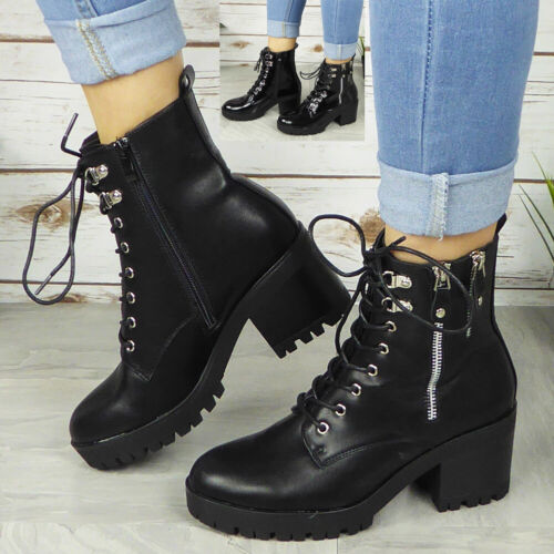 Womens Ankle Boots Ladies Punk Goth Lace Up Chunky Heel Cleated Sole Zip Shoes