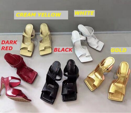 MW010526 - FASHION SQUARE OPEN TOE THONG HIGH HEEL SANDALS (SIZE 34 - 40)