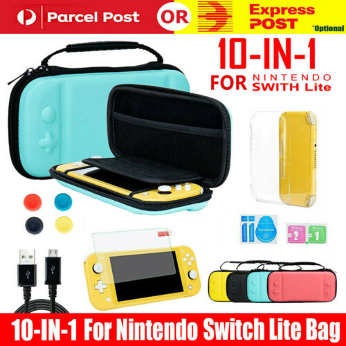 For Nintendo Switch Lite Carrying Case Bag+Shell Cover+Glass Screen Protector AU