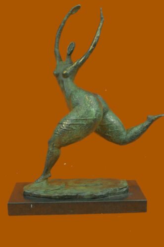 Modern Art Noveau Abstract Nude Woman Girl 100% Bronze Flame Sculpture by Milo