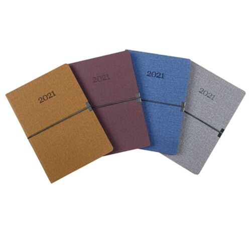 2021 Diary A4 Week To View PU Fabric Look with Horizontal Elastic WTV