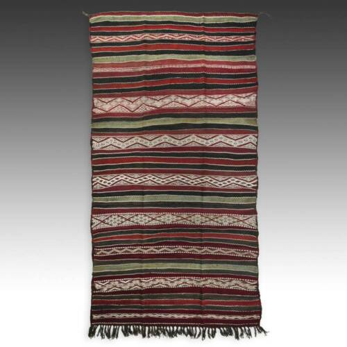 FLATWOVEN RUG WOOL MOROCCO NORTH AFRICA TRIBAL TEXTILES MID 20TH C.