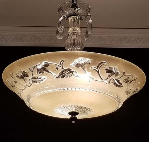 844b Vintage Antique 40's Ceiling Lamp Fixture Glass Shade Chandelier 4 Lights