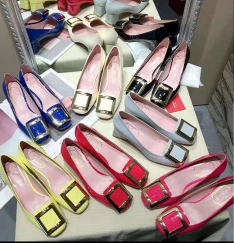 MW010538 - FASHION SQUARE BUCKLE LOW HEELS SHOES (SIZE 34 - 41)