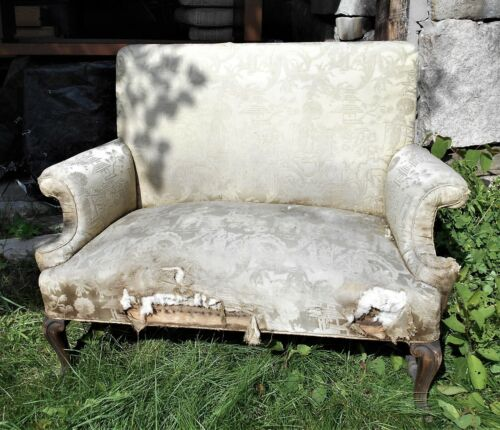 ANTIQUE 19th CENTURY JACOBEAN SCROLLED ARM UPHOLSTERED SETTEE