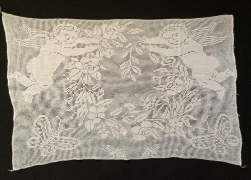 ANTIQUE EARLY 1900's LARGE FILLET CROCHET PANEL WITH CHERUBS AND BUTTERFLIES
