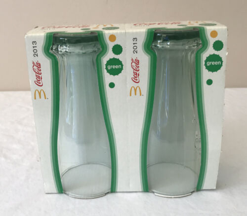 COCA COLA UPSIDE DOWN Drink GLASSES X 2 Green Still Joined New In The Box