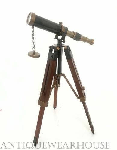Brass Nautical Antique Desk Telescope Handmade With Wooden Tripod Stand Gift