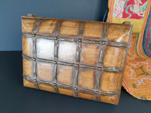 Old Metal Bound Wooden Treasure Chest  …beautiful collection & accent piece