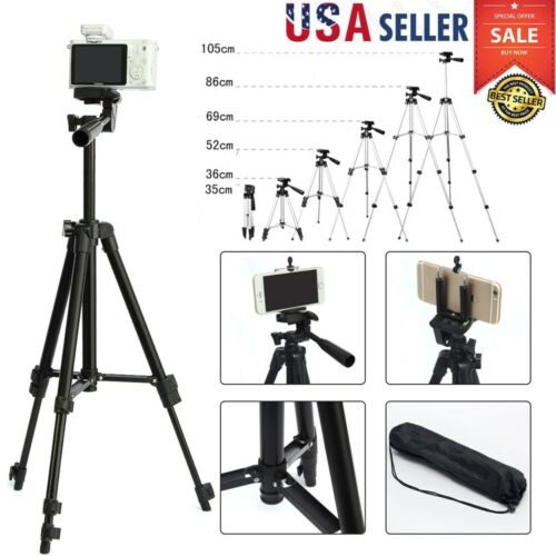 Portable Professional Adjustable Camera Tripod Stand Mount+Phone Holder-Black