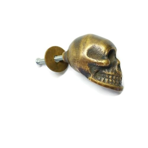 """cute small SKULL head knobs pulls aged BRASS old style 1.1/2"""" cabinet B"""