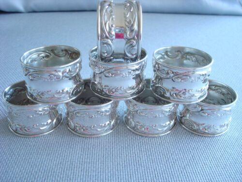 GORHAM MELROSE sterling silver ~ NAPKIN RINGS SET OF 8 ~ REPOUSSE  FABULOUS!!