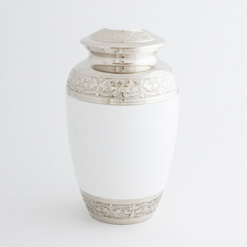 """Cremation Urn for adults - Size Large 10"""" - White/Nickel"""