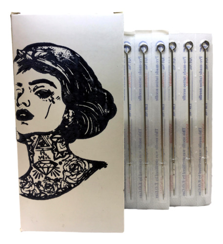 Sterile Premium STICK & POKE Hand Poke DIY Tattoo Needles 3 5 7 9RL Round Liner  <br/> **Lowest Price** Choose The Size & QTY In The Listing