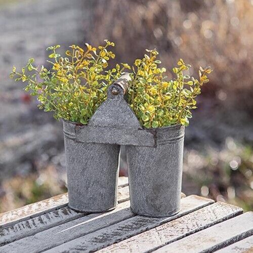Two Small Farm House Buckets Joined Gathering Americana Primitive FarmToo Cute!
