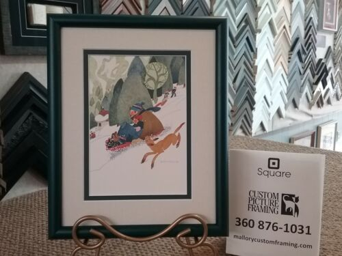 GREAT GIFT! New Custom Framed & Matted Art Card WINTER SPORT by Rie Munoz