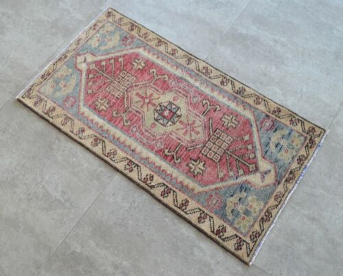 """Vintage Distressed Small Area Rug Hand Knotted Oushak Rugs Yastik -1' 8""""x 3' 2'"""