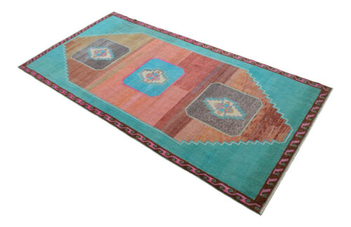 63″ x 130″ Hand Knotted Area Rug Turkish Tribal Wide Runner NEON Rug 5′3″x10′10″