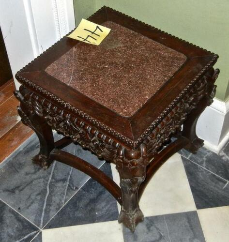 Antique Carved Asian  Plant Stand Marble top End Table Tall  (Cat#44-2-23)