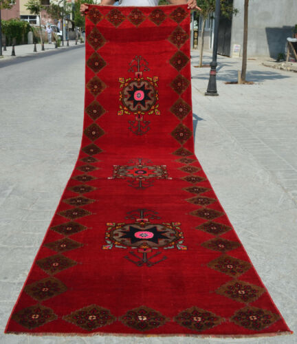 """3x11 Rug Turkish Runner Rug Hand Knotted Low Pile Hallway Decor Actual 36x130"""""""