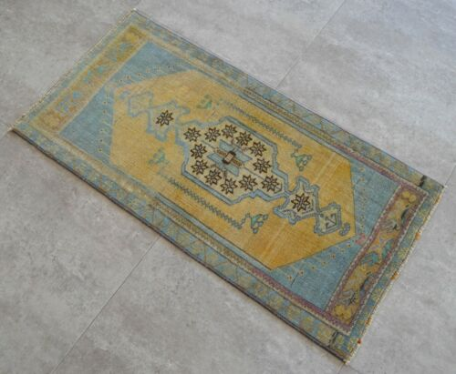 Vintage Distressed Small Area Rug Hand Knotted Oushak Rugs Yastik -1.7 x 3.3 ft