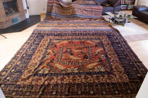 kilim and pile carpet in one  ca. 120 years old,.  rug  ca. 18,05 x 9,51 ft