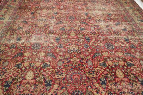 13.10x9.11 HANDMADE ANTIQUE  RUG  MASTERPIECE ONE OF THE KIND %100 WOOL
