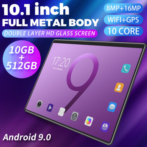 """10.1"""" Android 9.0 10Core Tablet Double HDScreen Game GPS Wifi Bluetooth 10+512GB"""