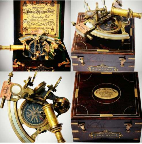 Halloween Astrolabe Brass Sextant with Compass Hardwood Box Christmas gift