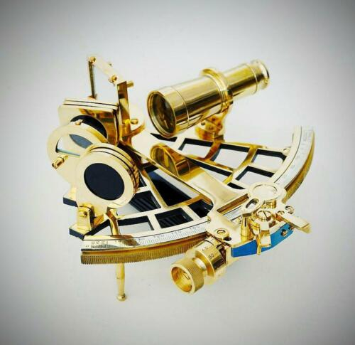 """Nautical Brass 9"""" Navigation Sextant Astrolabe Sextant Functional Brass Sextant"""