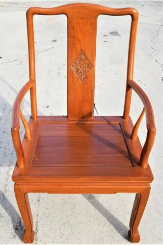 HENREDON Style Asian Chinoiserie Solid Wood Dining Accent Desk Armchair